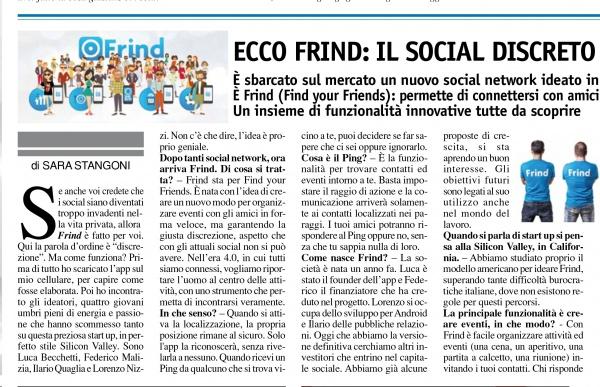 Terrenostre - articolo sul social network Frind (dicembre 2016)