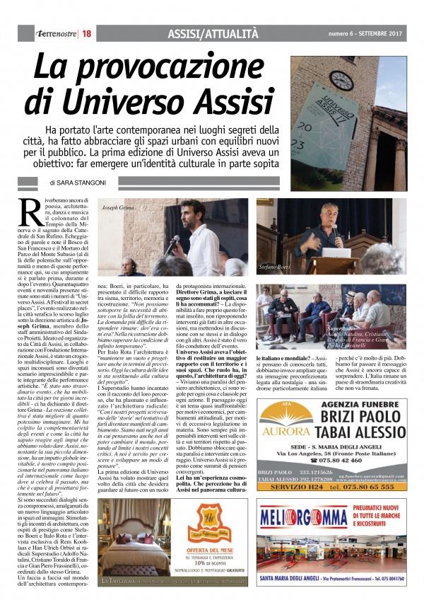 Terrenostre - articolo sull'evento Universo Assisi (settembre 2017)
