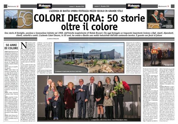 Terrenostre - articolo festeggiamenti 50 anni azienda Colori Decora di Bastia Umbra (novembre 2018)