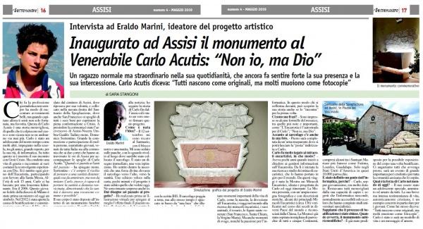 Terrenostre - articolo inaugurazione ad Assisi del monumento al Venerabile Carlo Acutis (maggio 2019)