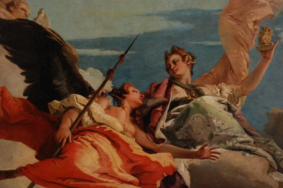 """""""Allegoria della Virtù e della Nobiltà che trionfano sull'Ignoranza"""", Giambattista Tiepolo."""